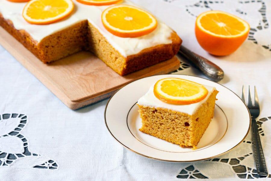 Bizcocho de naranja con glaseado Receta