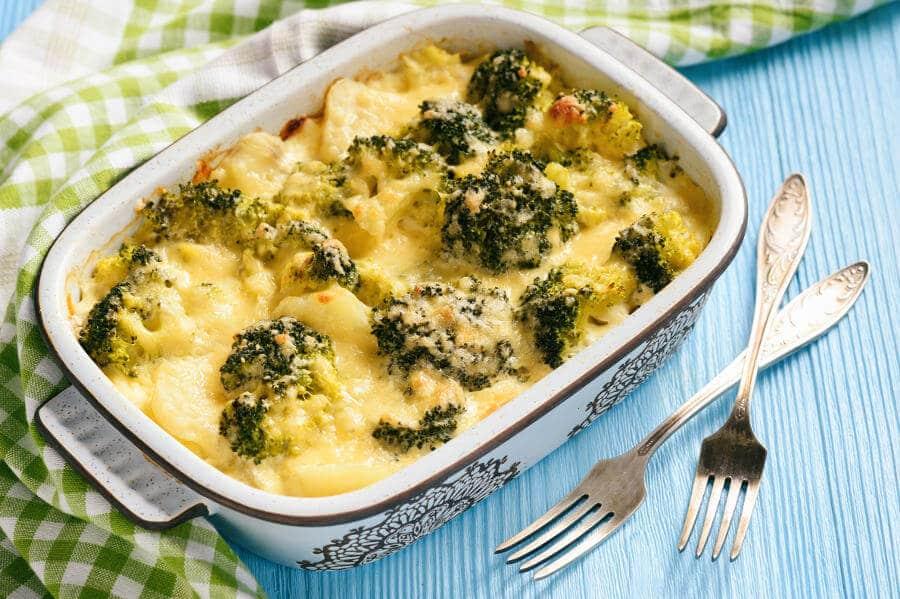 patatas al horno con coliflor y brocoli