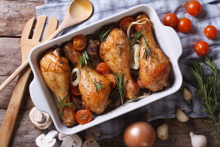 muslos de pollo con verduras receta