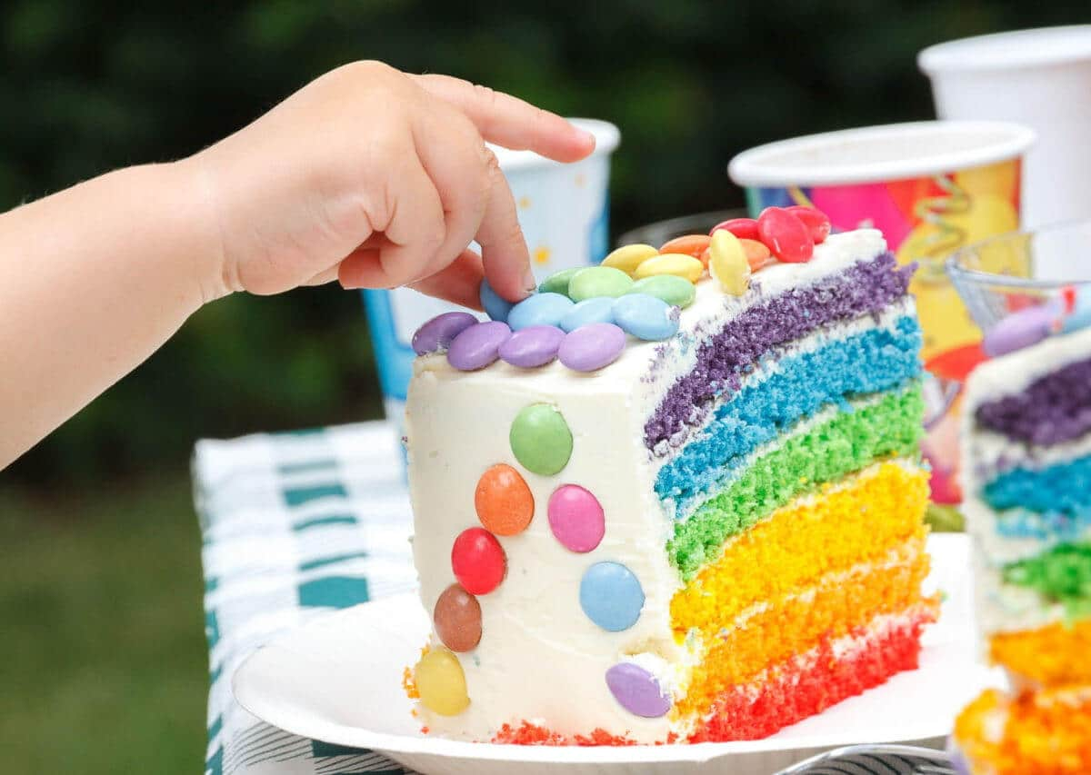 Tarta arcoiris: rainbow cake [receta divertida]
